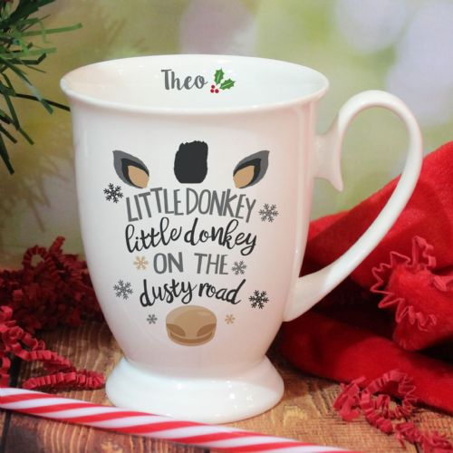 Personalised Little Donkey Christmas Marquee Mug